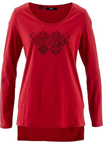Damen Flammgarn-Shirt, 192565 in Dunkelrot bedruckt