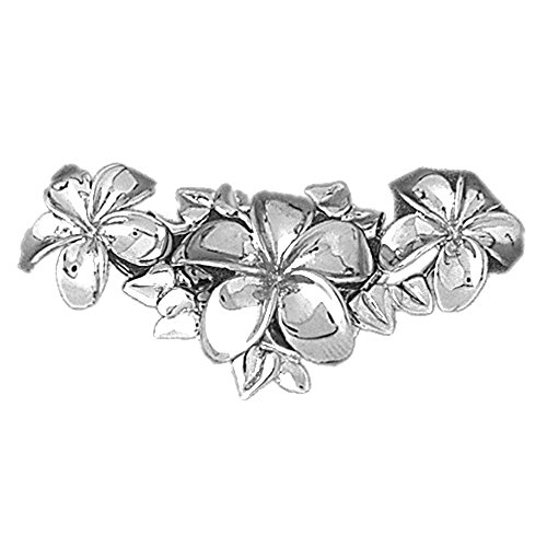 14K White Gold Plumeria Slide Pendant Necklace - 41 mm (Gold Pendant Slide Plumeria)