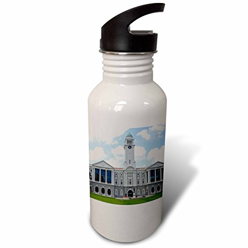 3dRose Cities Of The World - Victoria Theatre and Concert Hall, Singapore - Flip Straw 21oz Water Bottle - City Raffles Singapore
