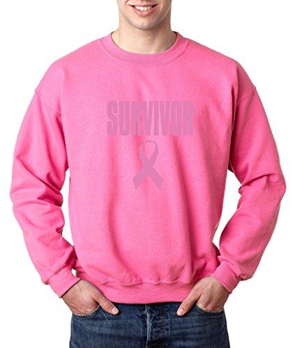 Survivor Pink Ribbon Crewneck Breast Cancer Awareness Sweatshirt 3XL Safety Pinkb2 (Pink Ribbon Survivor Sweatshirt)