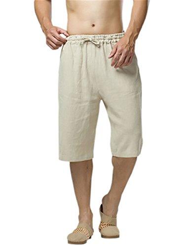 KAMUON Mens Casual Summer 100% Linen Elastic Waistband Beach Shorts Lounge Pants (Waist 33