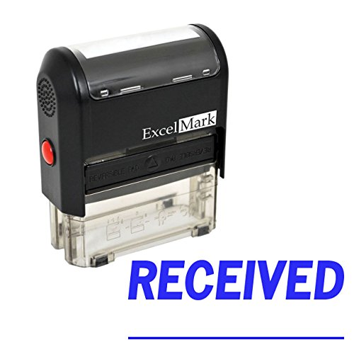 RECEIVED With Signature Line - ExcelMark Self-Inking Rubber Stamp - A1539 Blue Ink