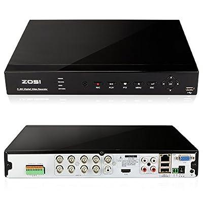 ZOSI RealTime 8 Channel DVR with 900TVL Had IR Cut High Definition Camera 1000GB HDD-Remote Access via Internet & SmartPhone