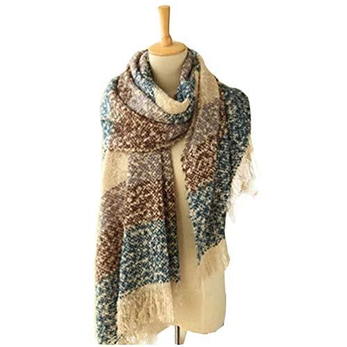 d9b8aff820c0 HongHu Stylish Long Plaid Cashmere Feel Blanket Lattice Grid Wrap Shawl  Scarves Base blue 200X58cm