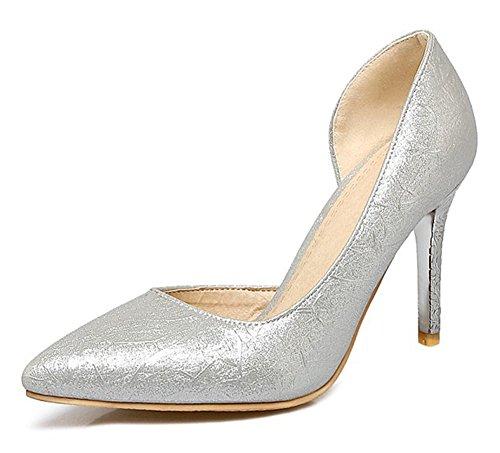 Easemax Donna Elegante In Metallo A Punta Corta Slip On Alti Sandali Con Tacco A Spillo In Argento