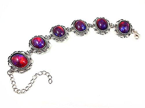 Little Gem Girl Victorian Mexican Opal Dragons Breath Color Changing Link Bracelet in Silver or Bronze (Antique Silver Bracelet) ()
