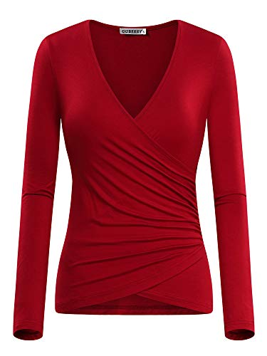 GUBERRY Womens Wrap Top Deep V Neck Long Sleeve Sexy Slim Fit T Shirts Blouse Red
