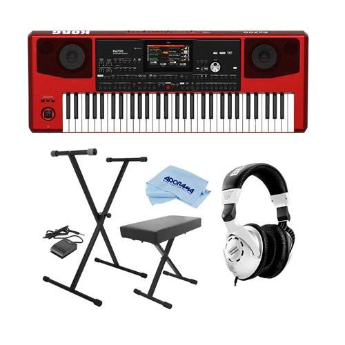 Korg Pa700 61-Key Pro Arranger with Touchscreen and Speakers, Red - Bundle With On-Stage KPK6520 Keyboard Stand/Bench Pack with Sustain Pedal, Behringer HPS3000 HP Studio Headphones, Microfiber Cloth by Korg