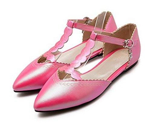 Aisun Kvinners Søte Blonder Spiss Tå Kutte Ut T Stropp Anheng Dekket Hæler Mary Jane Flats Skoene Med Spenner Rødt