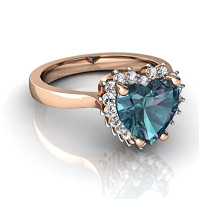 14kt Gold Lab Alexandrite and Diamond 8mm Heart Halo Heart Ring