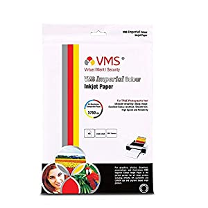 VMS Imperial Colour 4R (4 x 6) Photo Paper 102x152mm High Glossy 260gsm Water Proof Instant Dry For All Inkjet Printers – Set of 2 (200 Sheets)