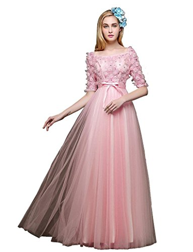 Emily Bowknot Hülsen A Spitzen Quadrat Abend halbe Kragen Beauty Linie Lang Pink Kleider RFcqS1RdC