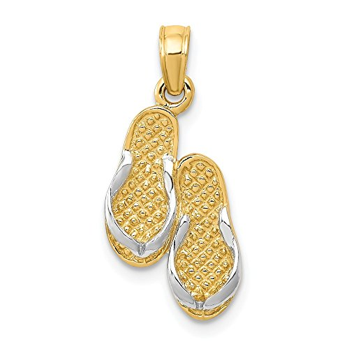 Carat in Karats 14K Two-Tone Gold With Rhodium Plating Solid Polished Sandals Pendant (22mm x 10mm)