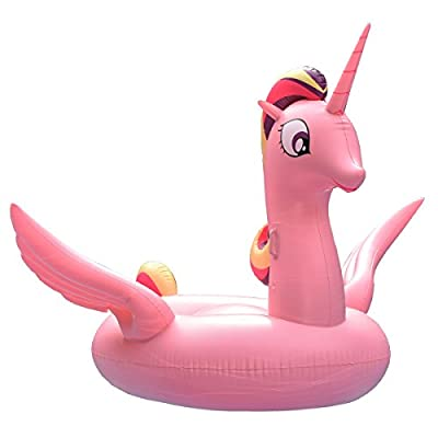 2018 New design Inflatable Pink Unicorn Pool Float, Funny Pool Party Toys Giant Pool Floats for Adults Kids, Outdoor Vacation Beach Loungers Lake Ride-ons River Raft, 94.5 x 82.7 x 63 inches