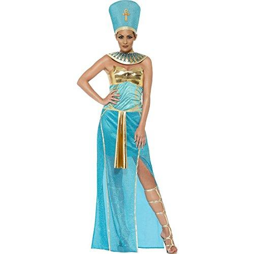 Nefertiti Costume Fancy Dress (Smiffy's Women's Goddess Nefertiti Costume, Dress, Headpiece and Collar, Tomb of Doom, Halloween, Size 10-12, 43732)