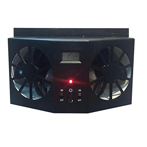Pevor Solar Powered Auto Car Window Air Vent Ventilator Mini Air Conditioner Cool Fan Black