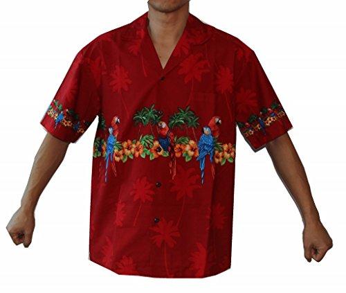 Alohawears Clothing Company Men's Parrots Hibiscus Hawaiian Luau Cruise Aloha Shirt (3XL, Red)