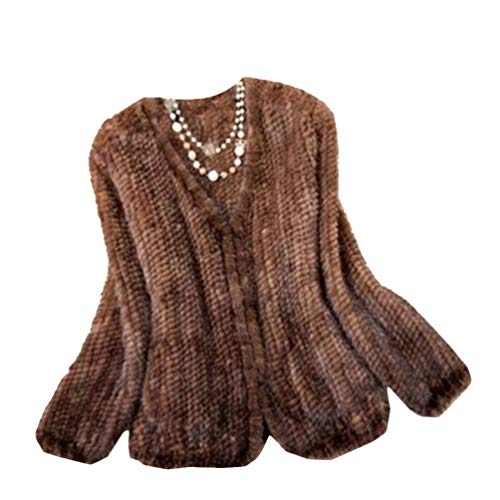 - YR Lover Women's Warm Long Sleeves Knitted Natural Mink Fur Coat Jacket