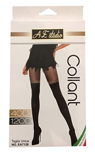 Calze Donna alla Moda e Originali Taglia Unica 1 Paio Classico e 1 Paio con Bordo Brillante Womens Fashion 2 Paia di Collant Effetto Parigina