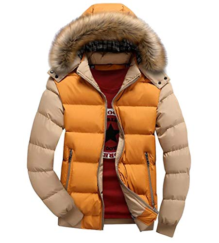 Hood Coat Warm Winter Men Collar Howme Contrast Down 2 Thickened Fur wTqBU