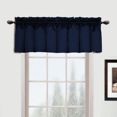 Woven Straight Valance, 54 by 16-Inch, Navy ()