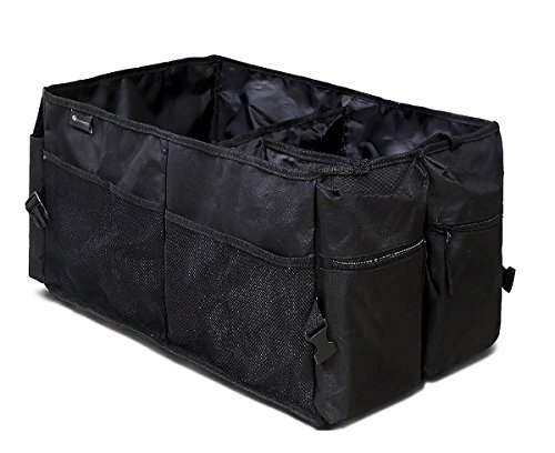 Zone Tech Multi-Compartment Trunk Backseat Organizer - Classic Black Heavy Duty Premium Quality Rugged Pack Fabric Cargo Storage Trunk Backseat Organizer - Garage Floor Paint Reviews