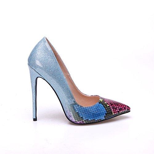 Python Bleu Femme Escarpins Hauts Chaussures Talons Zaproma Party Mariage F8gzWx