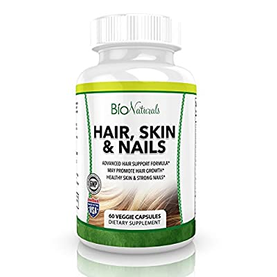 Hair Skin & Nails Vitamin Supplement w/Biotin, B Vitamins & Our Proprietary Herbal Blend for Healthier Hair & Growth, Glowing Skin & Stronger Nails - 60 Veggie Capsules