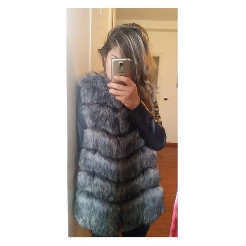 Fausse Renard Star M Gris Fur Femme Fourrure Gris Taille Fourrure Gilet PqIYfwB