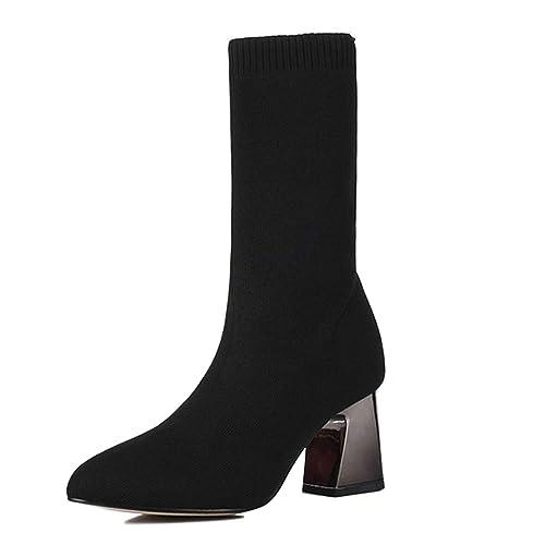 Señoras Botines Botas De Cuero Chelsea Ocasionales Calcetines Puntiagudos Botas Botas De Otoño E Invierno Tacones Gruesos: Amazon.es: Zapatos y complementos