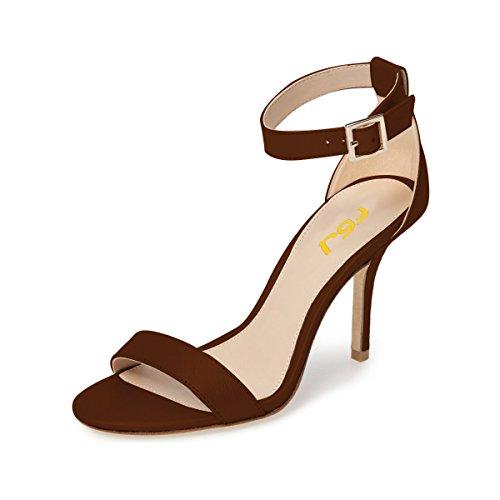 FSJ Women Summer Ankle Strap Sandals Open Toe Mid Kitten Heels Buckle Comfort Shoes Size 9 Brown by FSJ