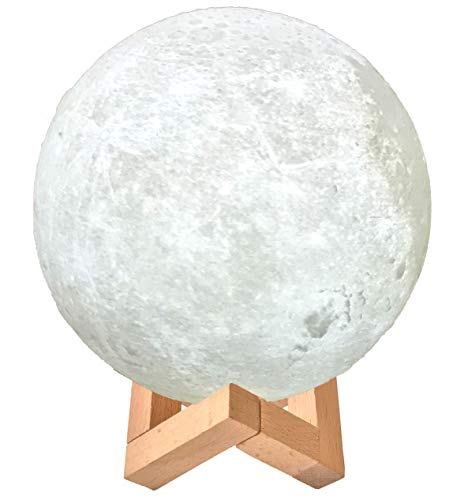 3D Printed Decorative Moon Light Moon Lamp Sphere with Wooden Stand - Touch Control. 2 Colors, Dimmable & Rechargeable Kids Nightlight. USB Charge Plus Free Socket Adapter Included