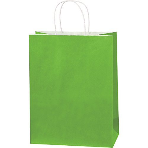 Tinted Paper Shopping Bags, 10'' x 5'' x 13'', Citrus Green, 250/Case by Choice Shipping Supplies (Image #1)