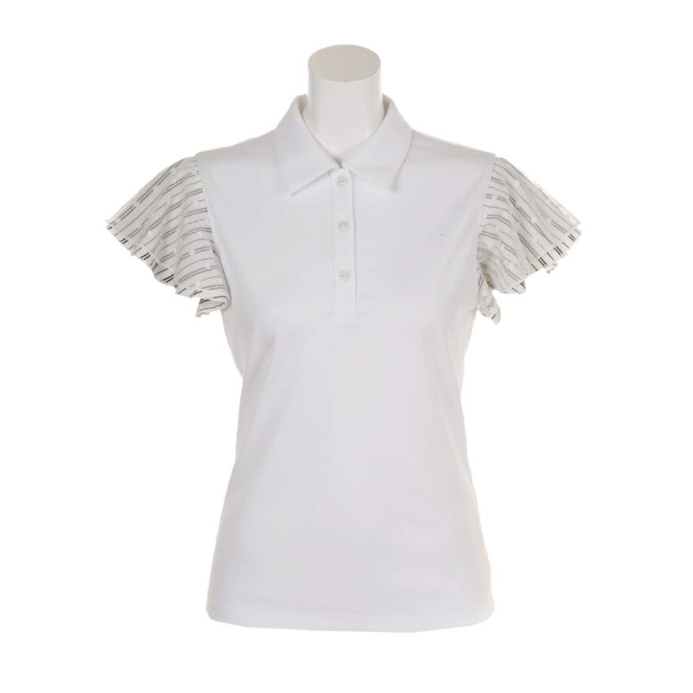 リエンダ rienda suelta 半袖シャツポロシャツ ストライプ×ドット 半袖ポロシャツ レディス S ホワイト B07PXDRVWQ