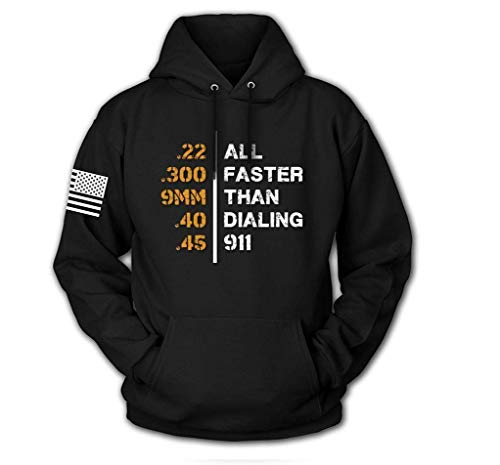 Tactical Pro Supply USA Sweatshirt Hoodie for Men or Women, American Flag Patriotic Jacket Sweater (Faster Than 911, Medium) ()