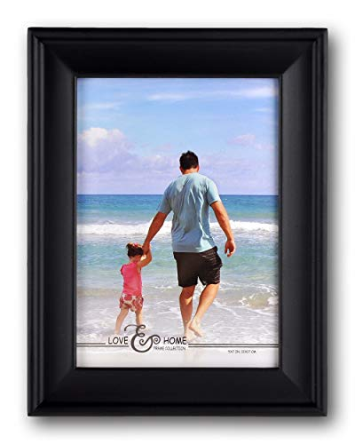 Spiretro 5 x 7 inch Country Scoop Wide Molding Natural, Solid Wood Picture Frame with Plexiglass, Vertically and Horizontally Display for Tabletop or Wall Mounting Photo Frame, Plain Gallery Black - Solid Wood Tabletop