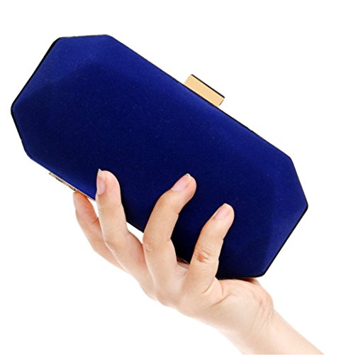 Top Nodykka Body Handbags Wedding Party Frame Bag Clutch Blue Handle Octagon Cross Velvet Evening zvrw4z