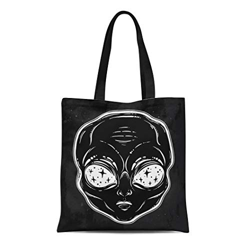 Semtomn Cotton Canvas Tote Bag Alien Head Starry Eyes Space Inside Pin Badges Cartoon Reusable Shoulder Grocery Shopping Bags Handbag Printed]()