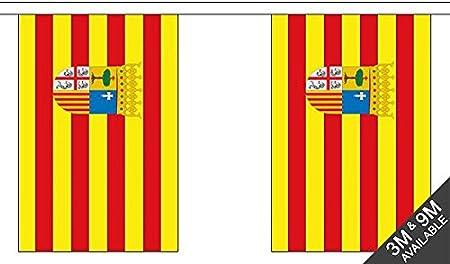 UKFlagShop Banderines de 3 Metros de 10 x 6 Pulgadas de Aragón España 100% poliéster Ideal para decoración de Fiestas, Pubs, Clubes y escuelas.: Amazon.es: Hogar