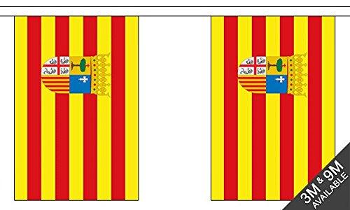 UKFlagShop Banderines de 3 Metros de 10 x 6 Pulgadas de Aragón ...