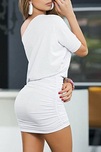 ACHICGIRL Stylish Solid Color One Shoulder Ruched Bodycon Mini Dress White