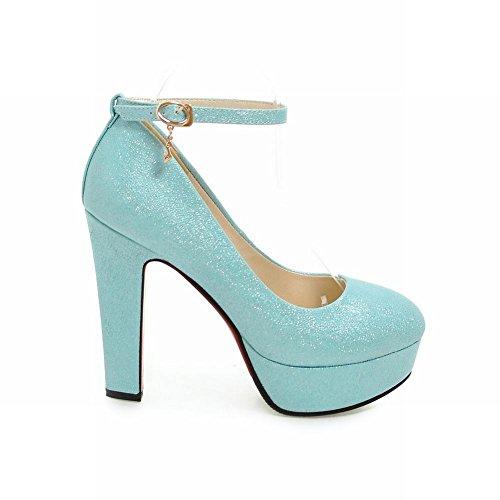 Plate Talon Carolbar Unie Des De Couleur De Haute forme Mode Chaussures Femmes Cour Bleu De vTHafxn