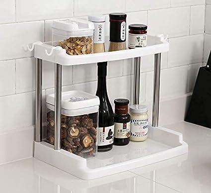 2 Tier Kitchen Organizer Spice Rack Shelf Cabinet Storage Organizer  Countertop Shelf (White)