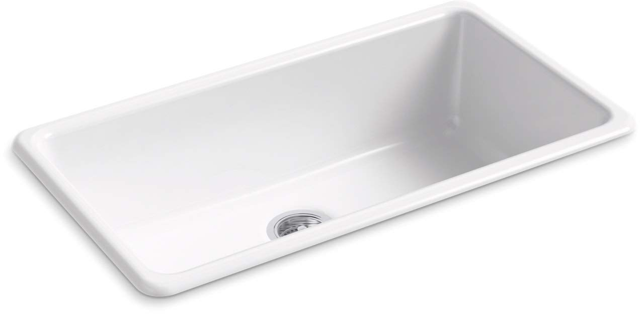 KOHLER 5707-0 Iron Tones Kitchen Sink, White