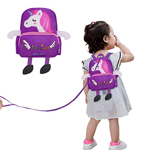 Accmor Toddler Harness Backpack, Unicorn Anti-Lost Baby Backpack Leash, Mini Child Safety Harness Backpack with Removable Reins for Boys Girls, Lightweight (Purple)