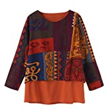 Women's Plus Size Tops, Jiayit Women Vintage Loose Blouse Pullover Irregular Hem Shirt