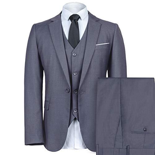 WEEN CHARM Mens Slim Fit Suit One Button Notch-Lapel 3 Pieces Suits Blazer Tux Vest & Trousers (X-Small, Light Grey) ()
