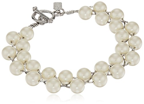 1928 Jewelry Silver-Tone Simulated Pearl Ivory Toggle Bracelet, - Com Pearl Diamond Bracelets