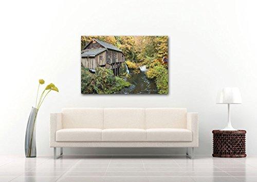 Rustic Autumn Forest Landscape CANVAS Print Cedar Creek Grist Mill Fall Decor Casual Man Cave Wall Art Weathered Wood Gold Leaves Photo Ready to Hang 8x10 8x12 11x14 12x18 16x20 16x24 20x30 24x36 (Shady Tree Studio)