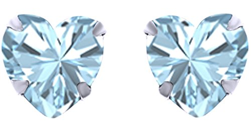 Mothers Day Jewelry Gifts Heart Shape Simulated Aquamarine Stud Earrings in 14k White Gold Over Sterling Silver (6 cttw) ()